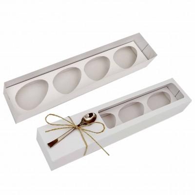 Caixa ovo de colher  50g x 4 - branca - com colher