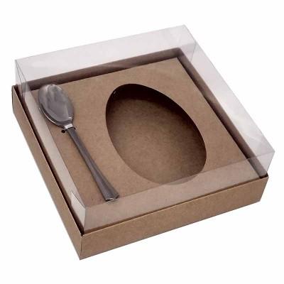 Caixa ovo de colher 250g - kraft - com colher