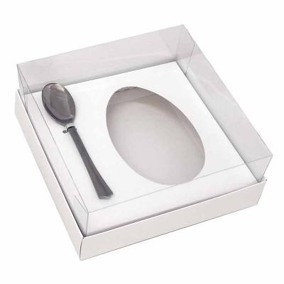 Caixa ovo de colher 250g - branca - com colher