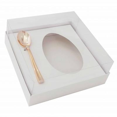 Caixa ovo de colher 250g - branca - com colher rosegold