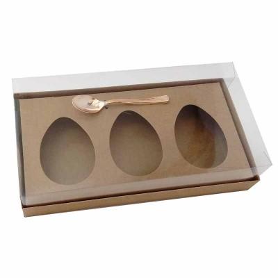 Caixa ovo de colher 150g x 3 - kraft - com colher rosegold