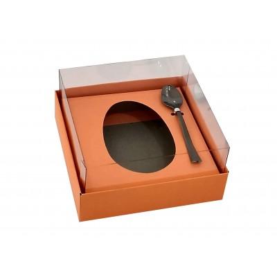 Caixa ovo de colher 100g/150g - laranja - com colher