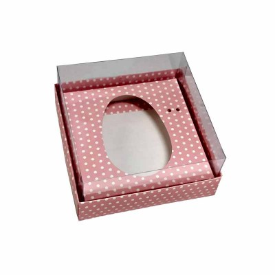 Caixa ovo de colher 100g/150g - rosa com bolinhas brancas