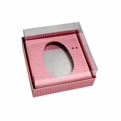 Caixa ovo de colher 100g/150g - rosa listrado