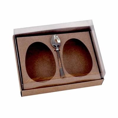Caixa ovo de colher 100g/150g x 2 - kraft - com colher