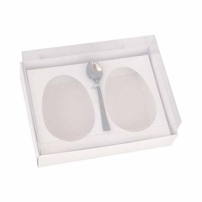 Caixa ovo de colher 100g/150g x 2 - branco - com colher