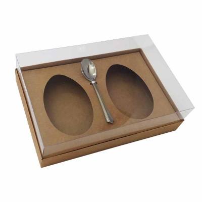 Caixa ovo de colher 250g x 2 - kraft - com colher
