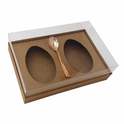 Caixa ovo de colher 250g x 2 - kraft - com colher rosegold