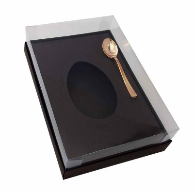 Caixa ovo de colher multiberço 250g 350g 500g - marrom-café - com colher rosegold