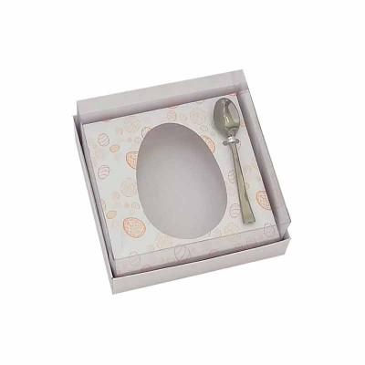 Caixa ovo de colher 100g/150g - branca temática - com colher