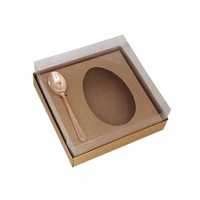 Caixa ovo de colher 250g - kraft - com colher rosegold