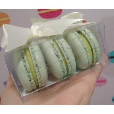 Caixa 3 macarons em pé - Transparente