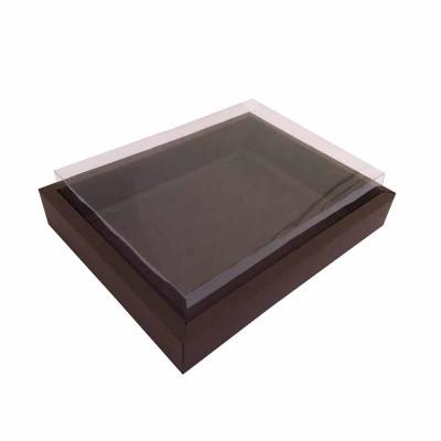 Caixa 12 macarons deitados - Borda Marrom escuro