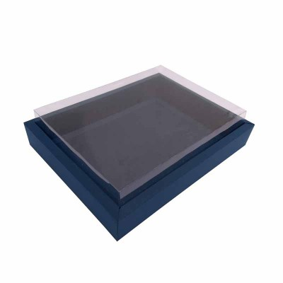 Caixa 12 macarons deitados - Borda Azul escuro