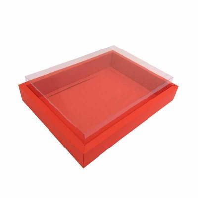 Caixa 12 macarons deitados - Borda Vemelha