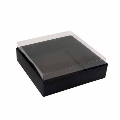 Caixa para 4 macarons deitados - 9x9x3 cm - Preta