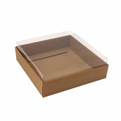 Caixa para 4 macarons deitados - 9x9x3 cm - Marrom