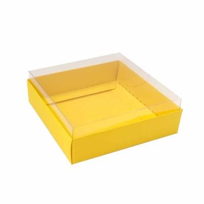 Caixa para 4 macarons deitados - 9x9x3 cm - Amarelo