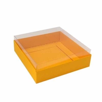 Caixa para 4 macarons deitados - 9x9x3 cm - Alaranjado Jamaica