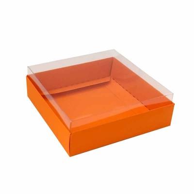 Caixa para 4 macarons deitados - 9x9x3 cm - Laranja