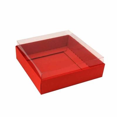 Caixa para 4 macarons deitados - 9x9x3 cm - Vermelho