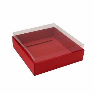 Caixa para 4 macarons deitados - 9x9x3 cm - Vermelho escuro