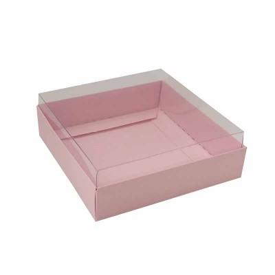 Caixa para 4 macarons deitados - 9x9x3 cm - Rosa bebê