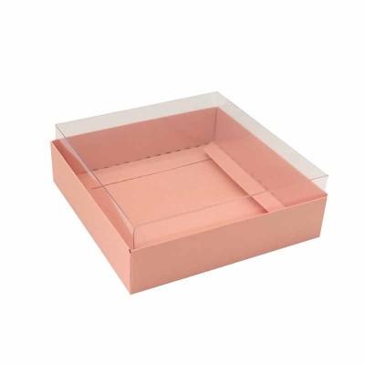 Caixa para 4 macarons deitados - 9x9x3 cm - Rosa salmão