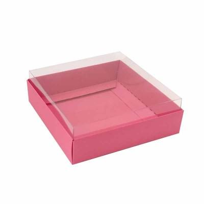 Caixa para 4 macarons deitados - 9x9x3 cm - Rosa pink