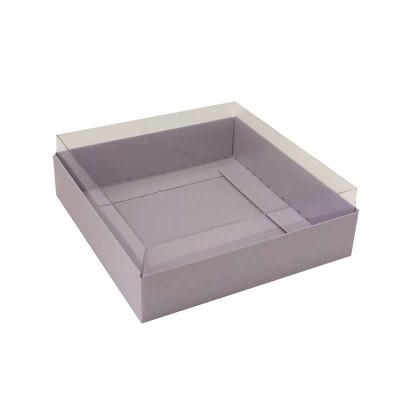 Caixa para 4 macarons deitados - 9x9x3 cm - Lilás