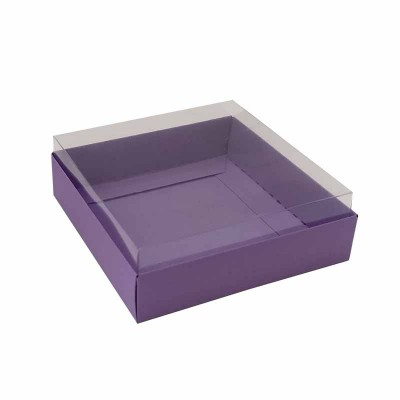 Caixa para 4 macarons deitados - 9x9x3 cm - Roxo