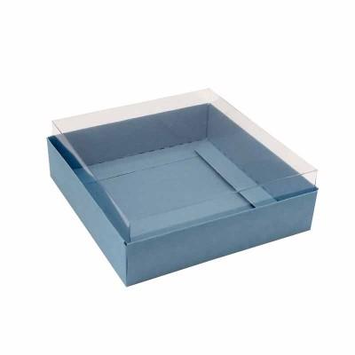 Caixa para 4 macarons deitados - 9x9x3 cm - Azul Nice