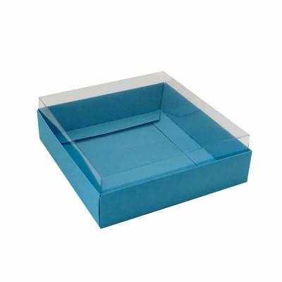 Caixa para 4 macarons deitados - 9x9x3 cm - Azul Bahamas
