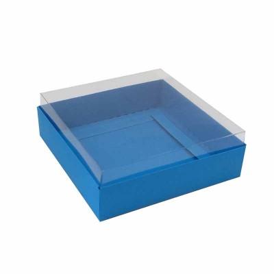 Caixa para 4 macarons deitados - 9x9x3 cm - Azul Royal