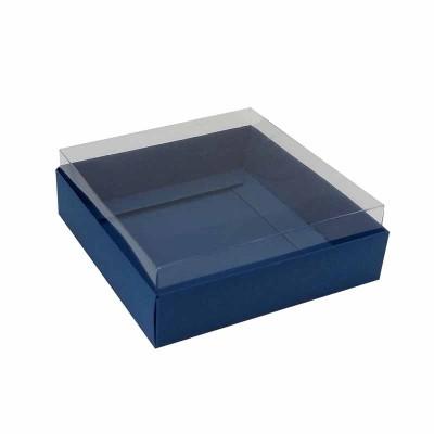 Caixa para 4 macarons deitados - 9x9x3 cm - Azul Toronto