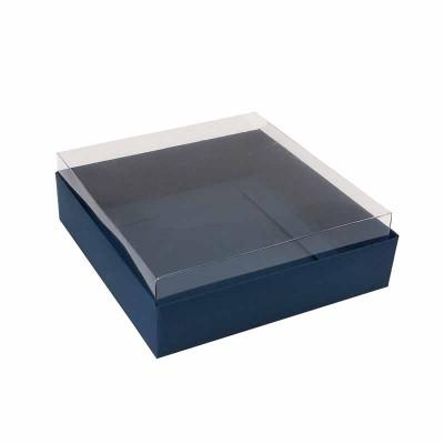 Caixa para 4 macarons deitados - 9x9x3 cm - Azul Escuro
