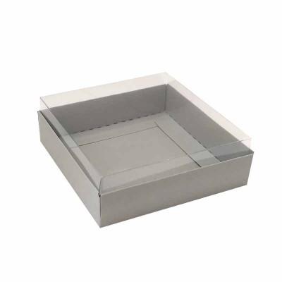 Caixa para 4 macarons deitados - 9x9x3 cm - Cinza