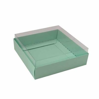 Caixa para 4 macarons deitados - 9x9x3 cm - Verde Bebê