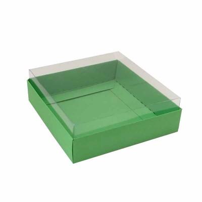 Caixa para 4 macarons deitados - 9x9x3 cm - Verde Maçã