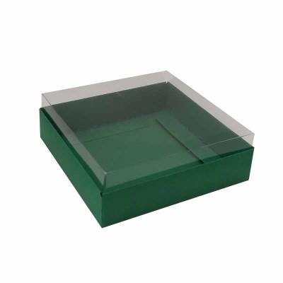 Caixa para 4 macarons deitados - 9x9x3 cm - Verde Bandeira