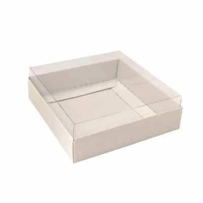 Caixa para 4 macarons deitados - 9x9x3 cm - Branca