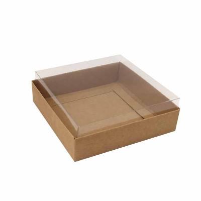 Caixa 4 macarons deitados - 9x9x3  - kraft