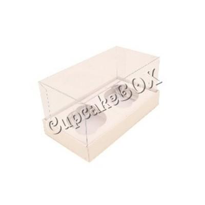 Caixa para 2 Mini Cupcakes - Branca
