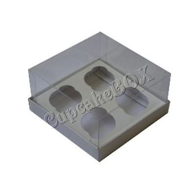 Caixa para 4 Mini Cupcakes - Branca