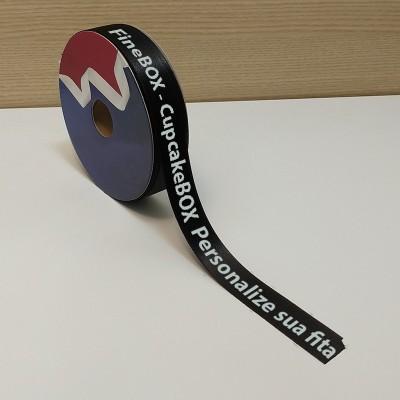 22 mm - Fita de cetim personalizada Preta - rolo com 50 metros