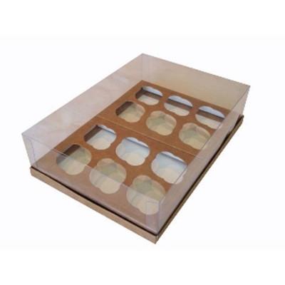 Caixa 12 mini cupcakes - Kraft