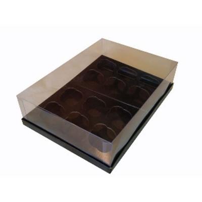 Caixa 12 mini cupcakes - Preto