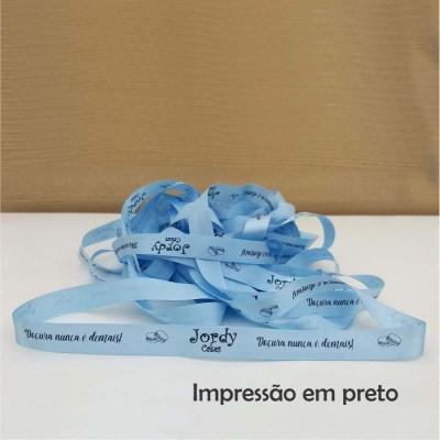 N° 5 (22 mm) - Fita de cetim Personalizada Azul Bebê - rolo com 50 metros