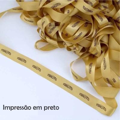 22 mm - Fita de cetim personalizada Dourada - rolo com 50 metros