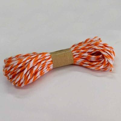 Barbante laranja e branco de páscoa - 10 m